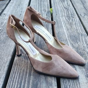 Vintage Martinez Valero T-Strap Suede Heels